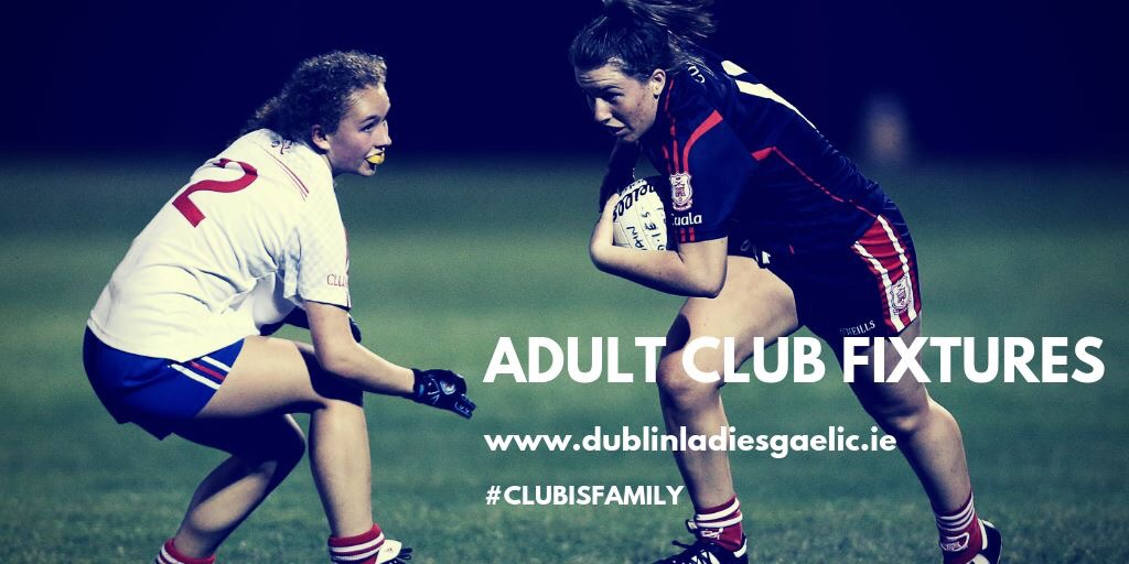 Promotional poster featuring two ladies Footballers in action one in a white jersey and blue shorts and the other in navy jersey and shorts with red stripe in the adult league