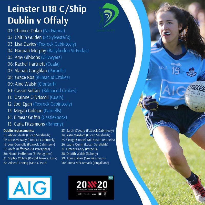 Promotional poster for Dublin's Final Leinster U18 championship game featuring the list of players on the left and a Dublin Minor Ladies footballer on the right in a sky blue jersey and navy shorts
