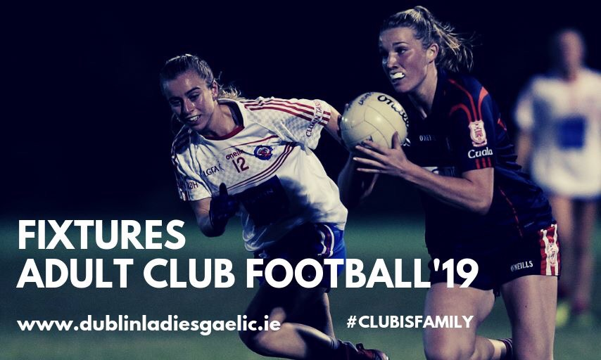 Two ladies Footballers one in a Navy Jersey and navy shorts and the other in a white jersey and blue shorts in action during the Dublin Ladies Football adult Club League
