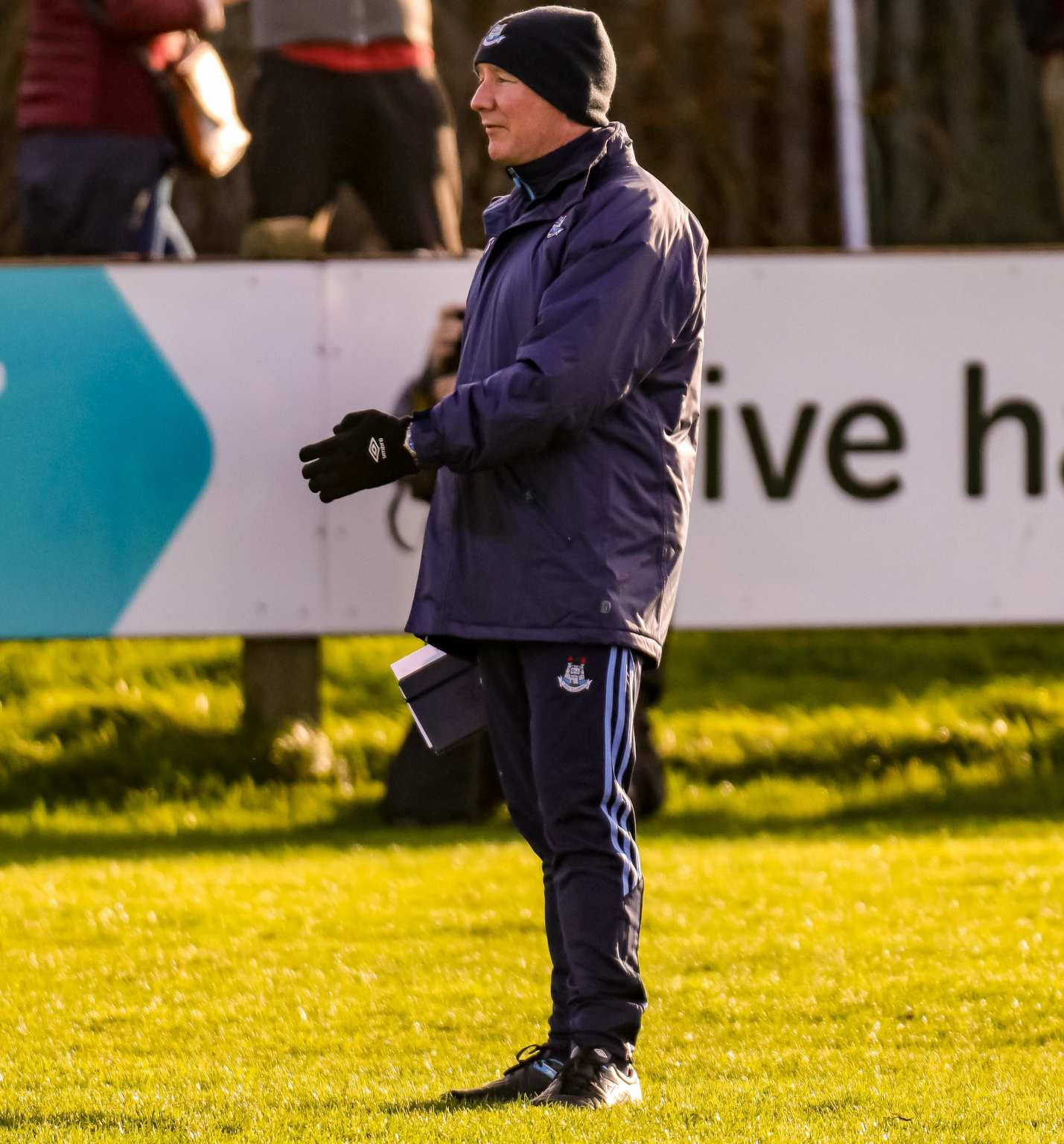 Dublin Football Manager Jim Gavin in a Navy coat, hat and tracksuit bottoms, Gavin's not taking the result of tomorrow's game against Louth as a foregone conclusion