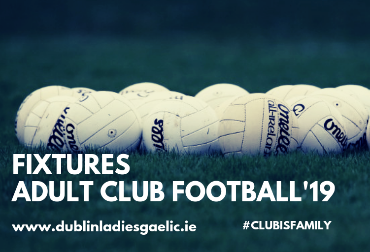 10 white Gaelic footballs on a grass pitch to advertise the Dublin LGFA Adult League Fixtures
