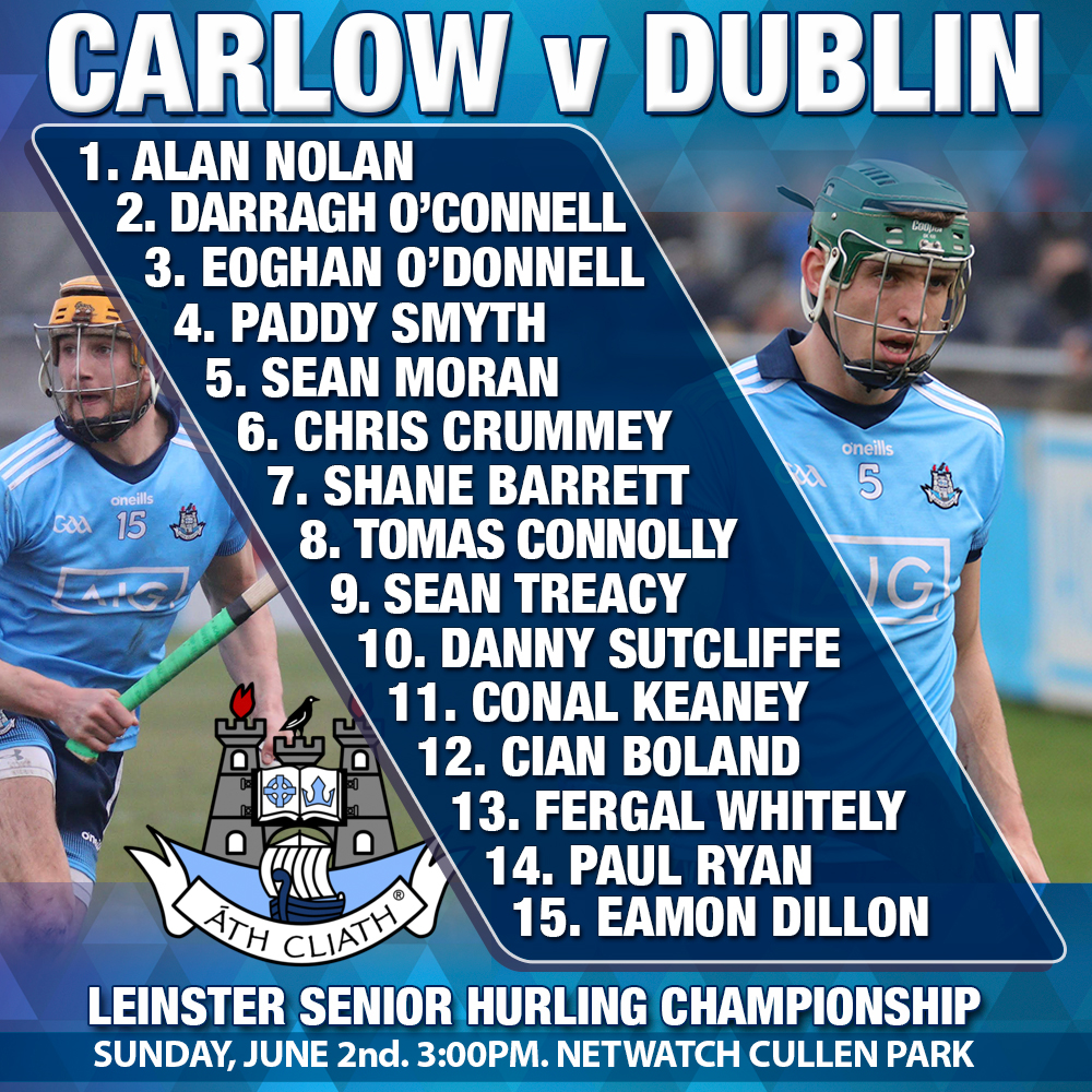 Dublin Senior Hurling - Starting 15 v Carlow