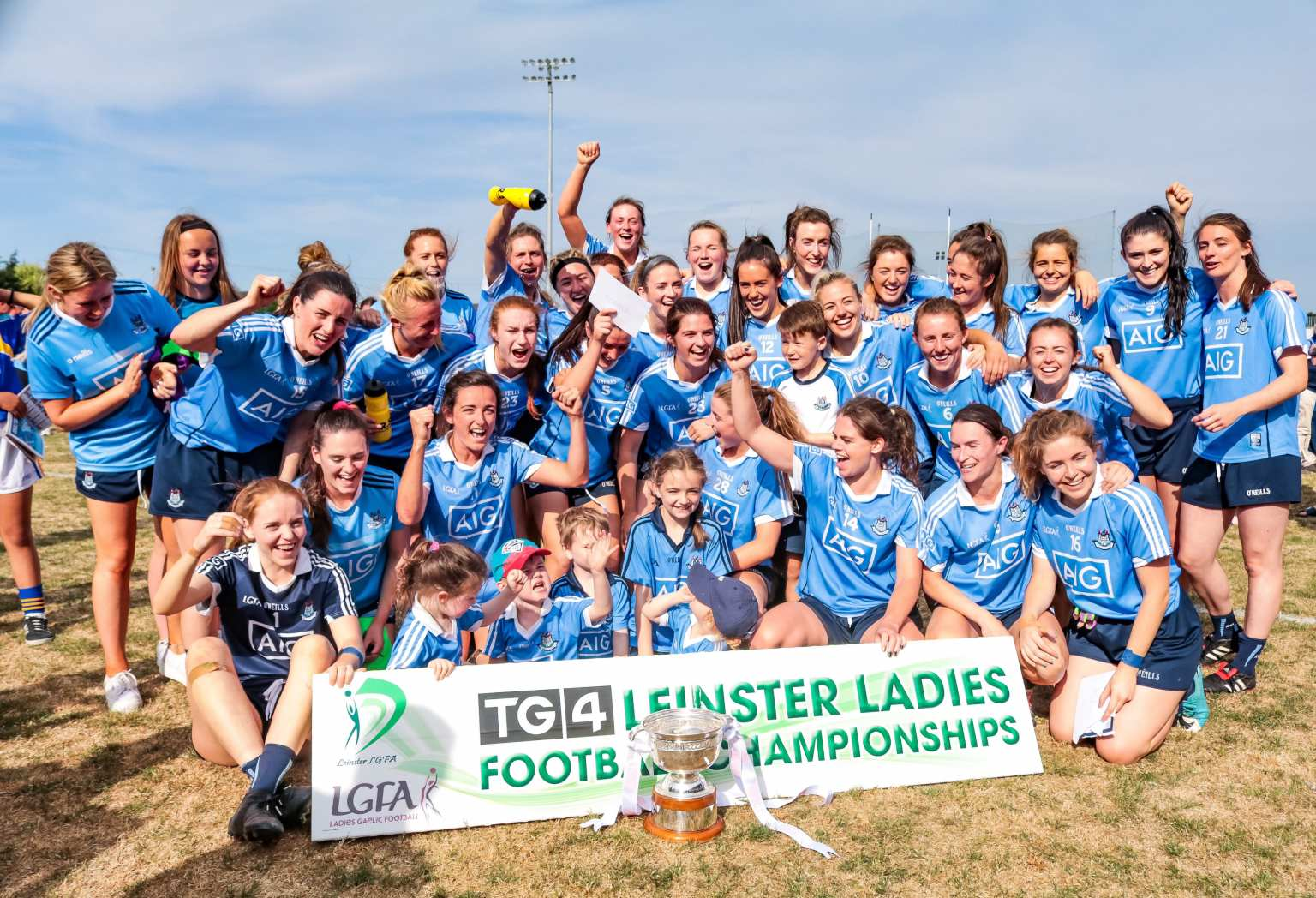 Dublin Ladies Football Squad celebrating winning last year's Leinster Senior Final