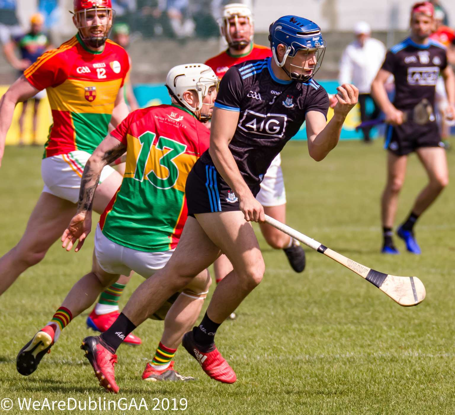 Dublin Hurler Eoghan O'Donnell breaking away from a Carlow hurler during their Leinster SHC clash