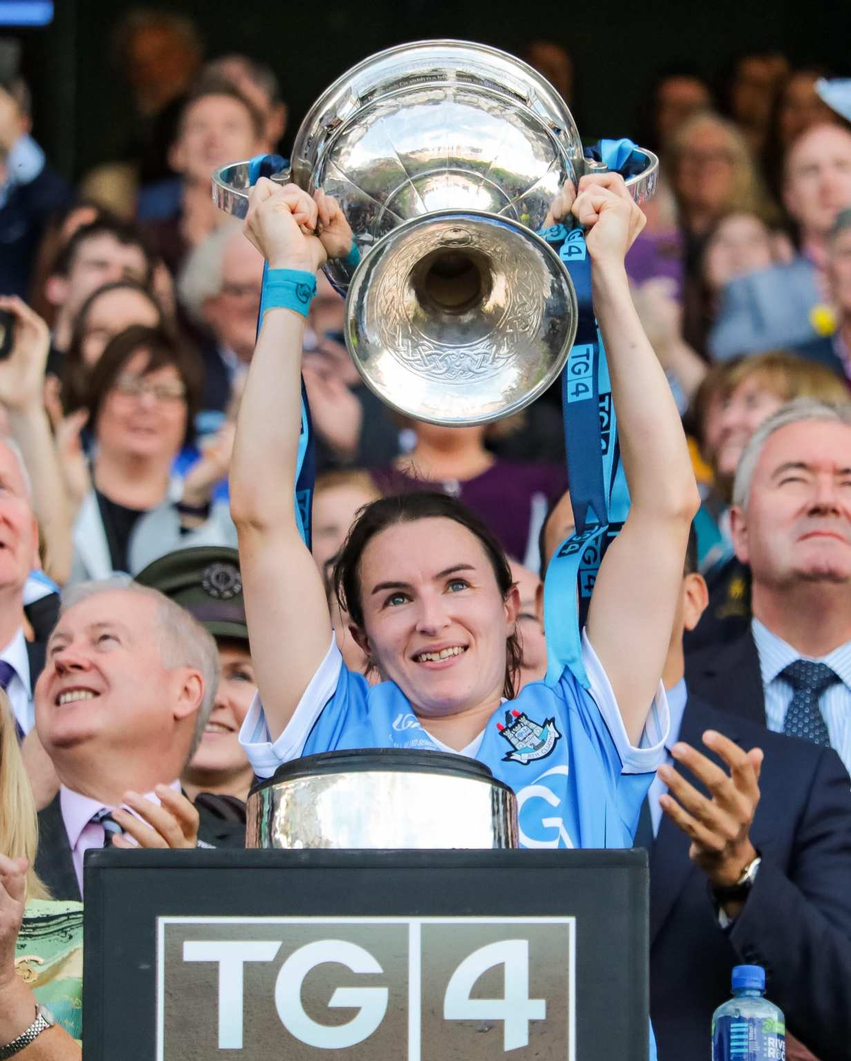 Dublin Captain Sinead Aherne lifting the Brendan Martin Cup as the groupings are explained for the 2019 TG4 All Ireland Senior Ladies Football Championship
