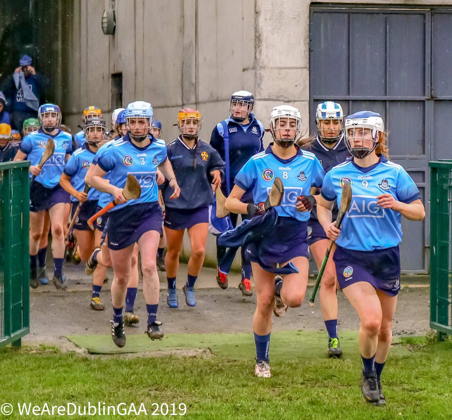 Dublin Camogie Players making their way onto the pitch for the Senior Camogie All Ireland Championship