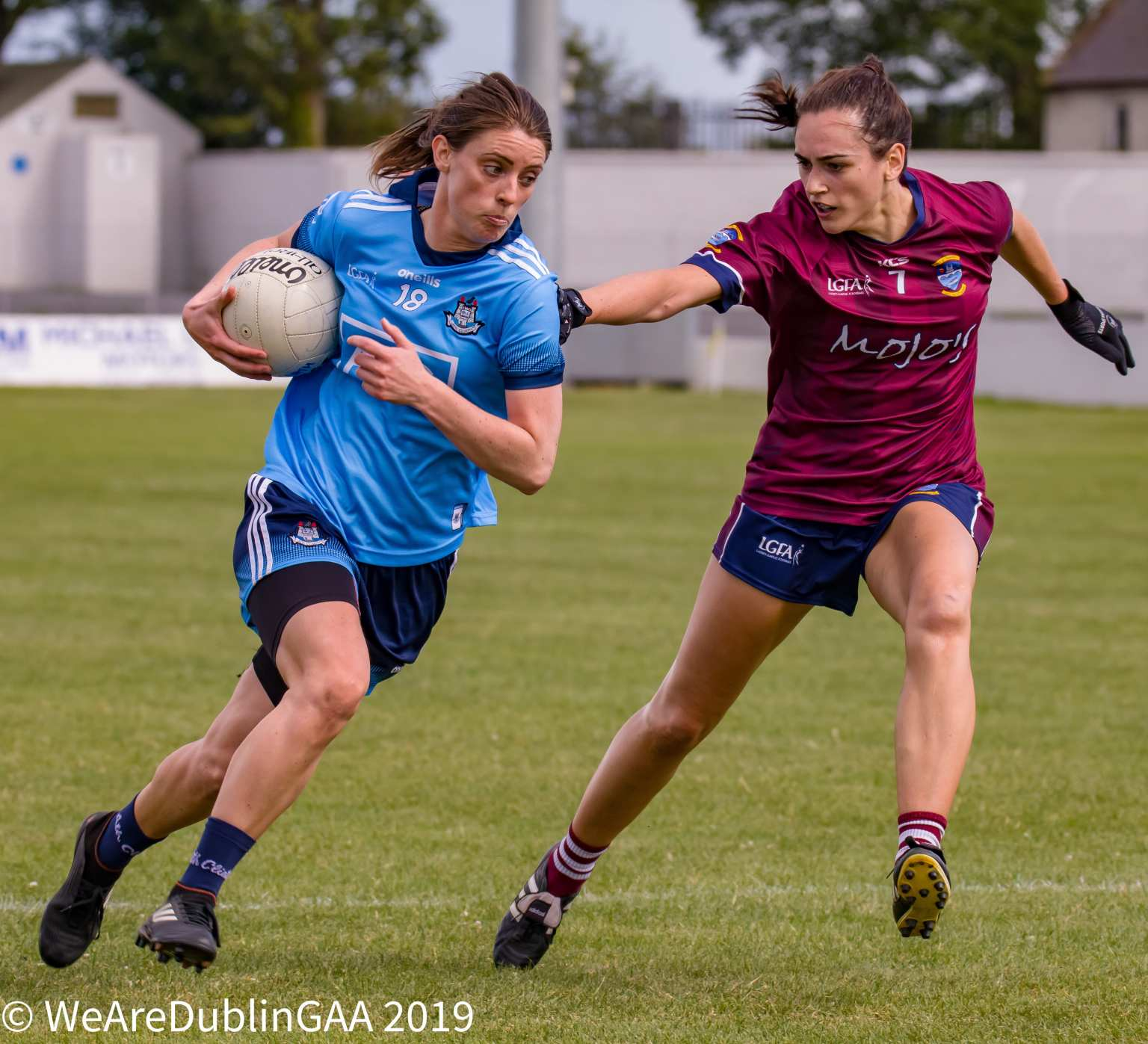 Dublin's Oonagh Whyte Is Tackled By Westmeath's Karen McDermott