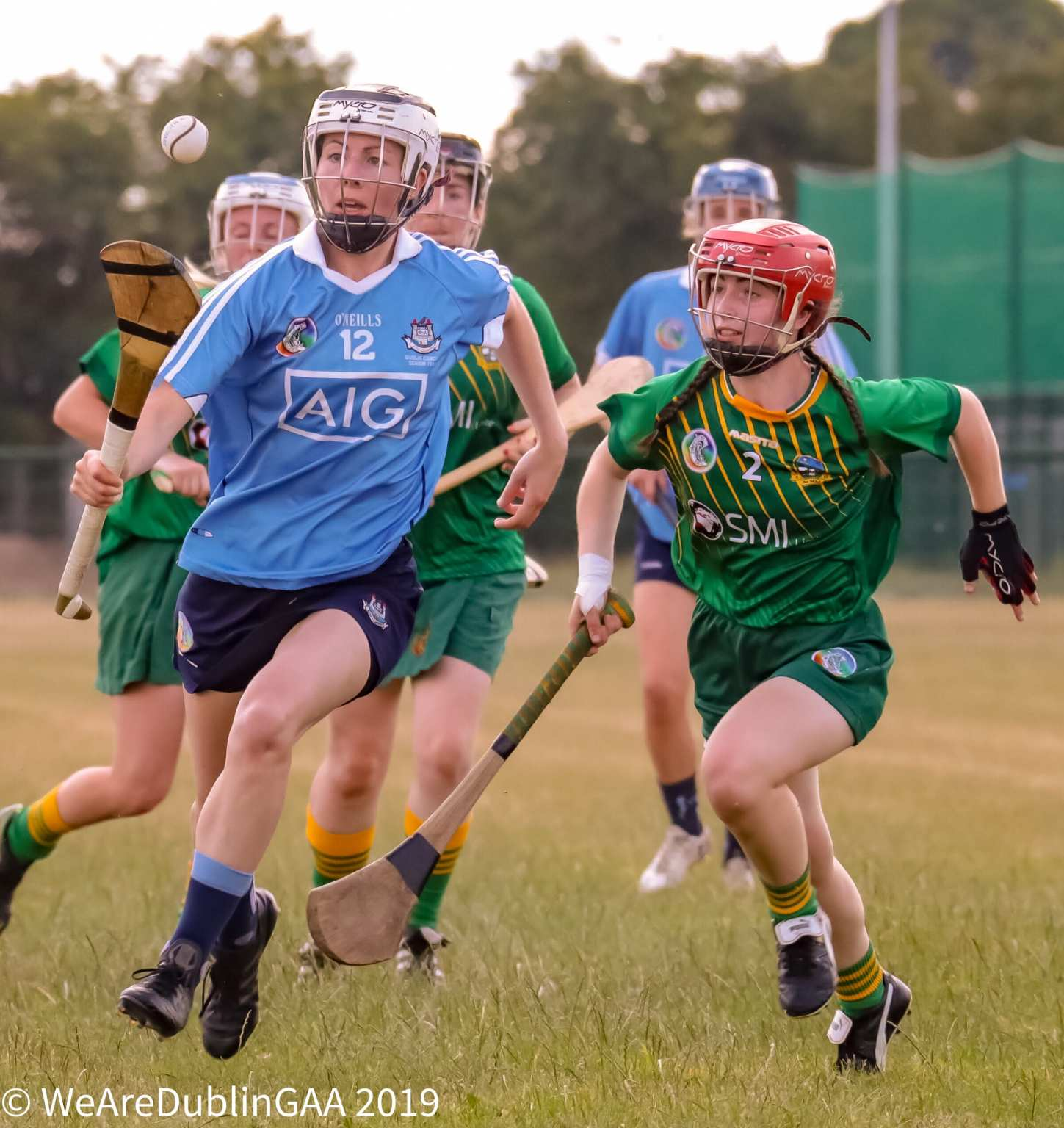 Dublin Camogie player races away with the ball on her hurl from a Meath player in the Senior All Ireland Championship both sides meet again this weekend.
