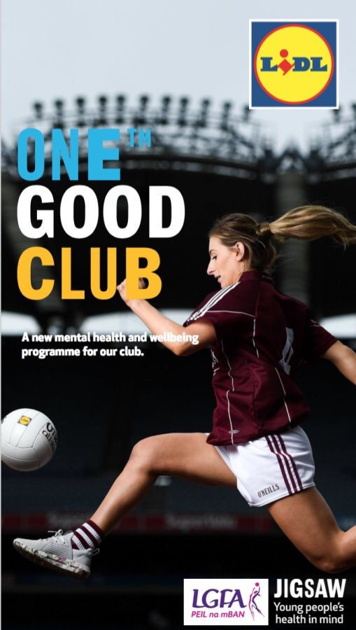 Image of a ladies Gaelic footballer kicking a ball to advertise the LGFA, Lid Ireland and Jigsaw pilot of the Lidl One Good Club initiative