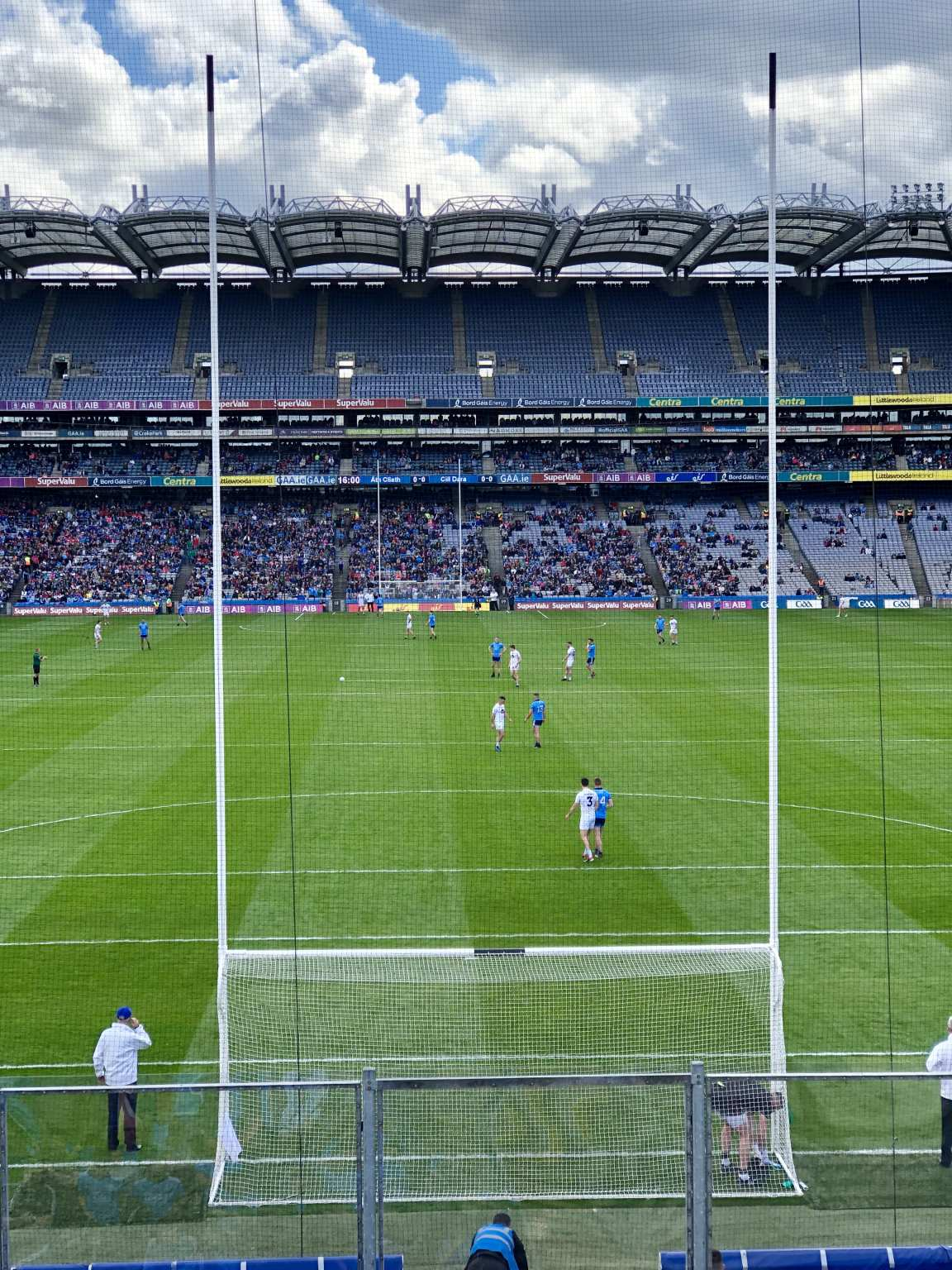 Dublin and Kildare Players on the Croke Park pitch just before their Leinster SFC Semi Final