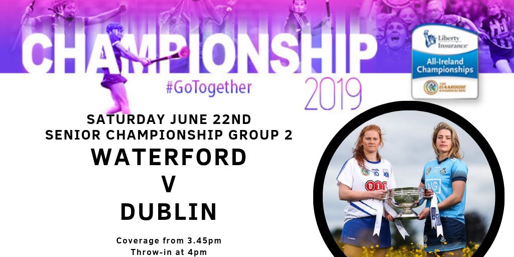 Promotional poster for the Liberty Insurance All Ireland Senior Camogie Championship game between Waterford and Dublin