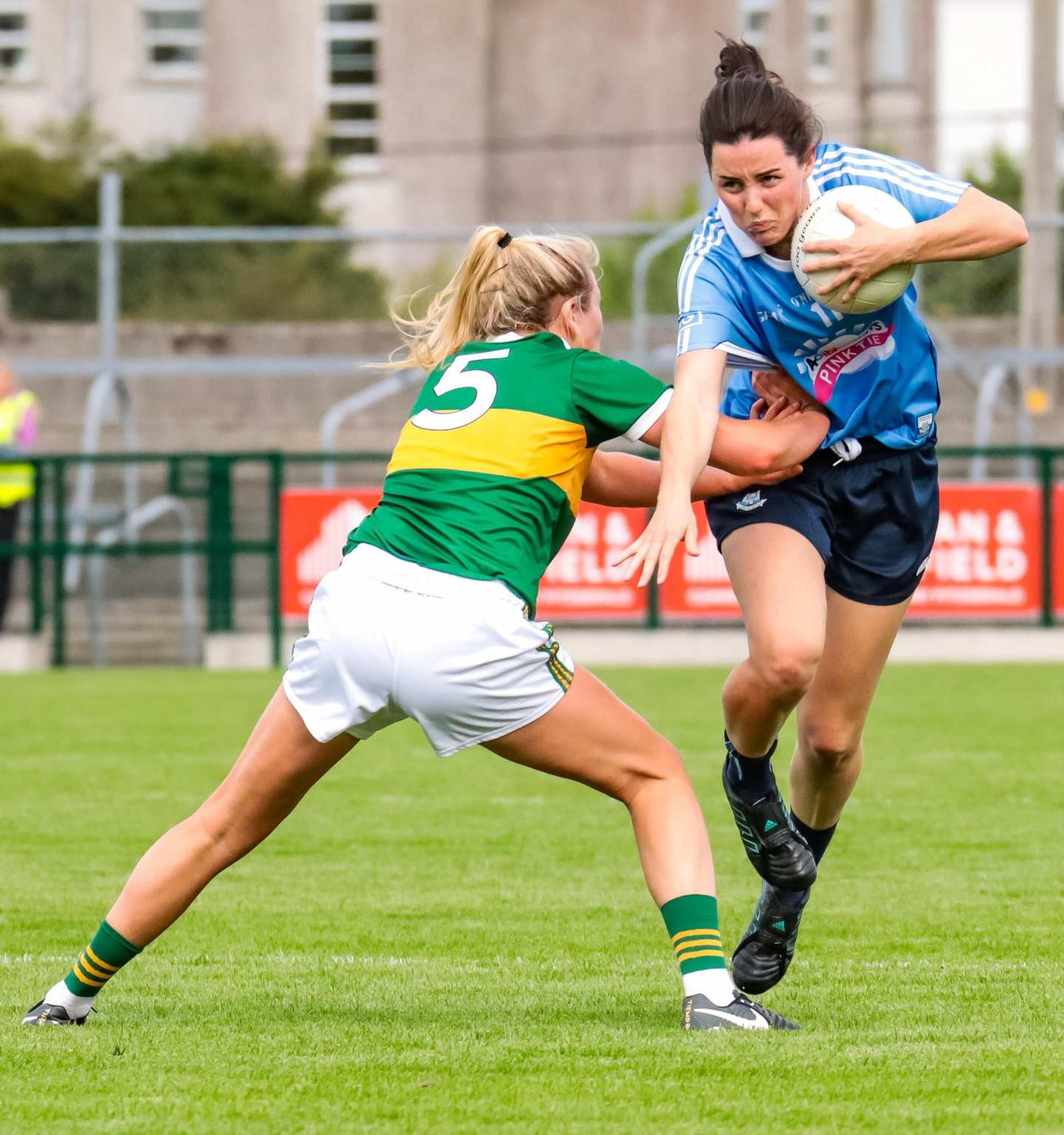 A Dublin and Kerry Ladies footballer in action last year both sides meet again in the 2019 TG4 All Ireland Senior championship quarter finals.