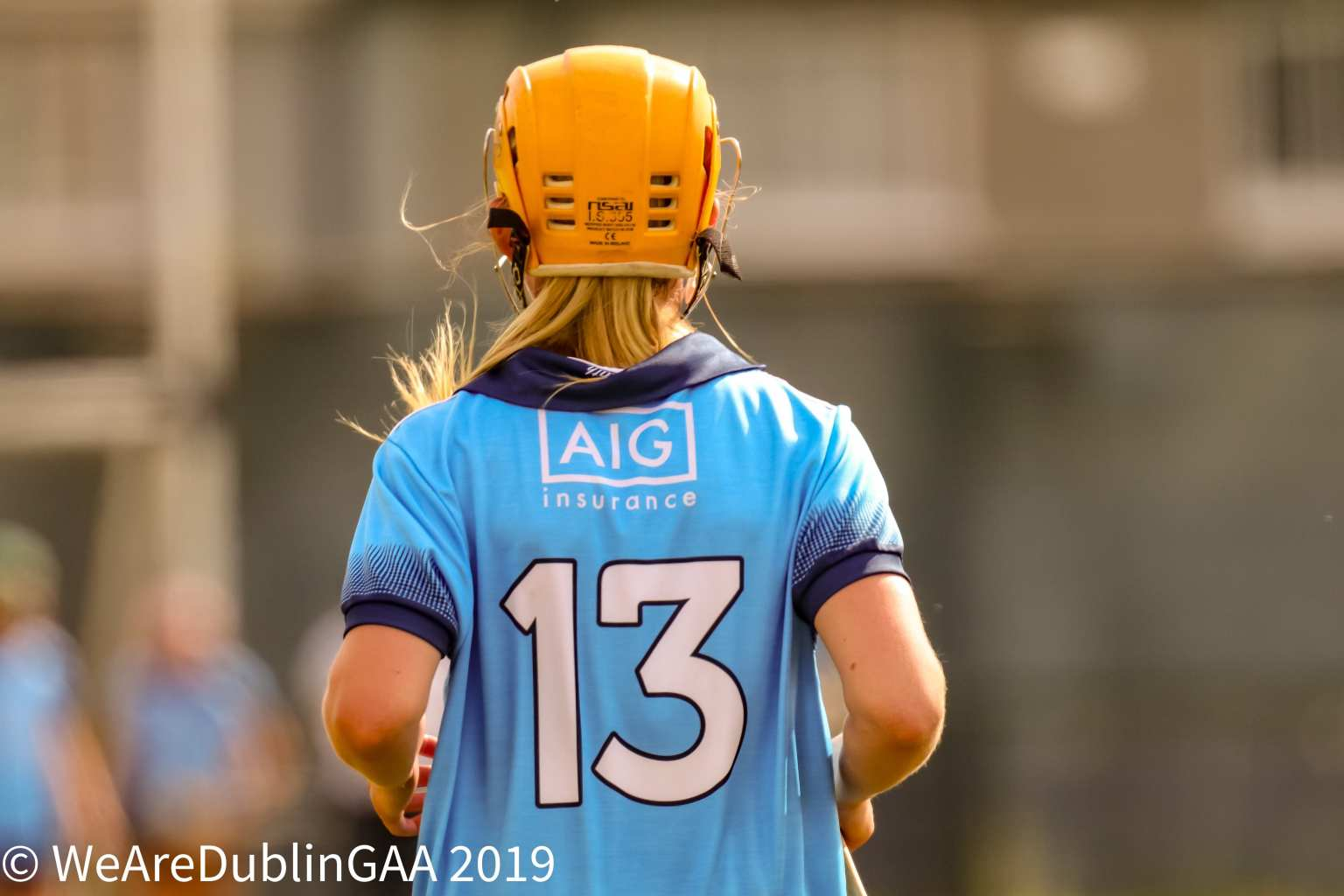 A member of the Dublin Camogie Intermediates team with number 13 on the back of her jersey the Dublin Inters Team is announced to play Westmeath