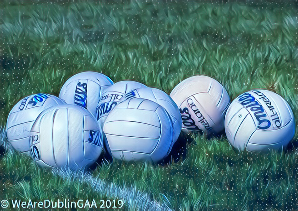 White Gaelic footballs to represent the Dublin LGFA adult Club League and Cup results which included Foxrock Cabinteely's first loss at the hands of Fingallians