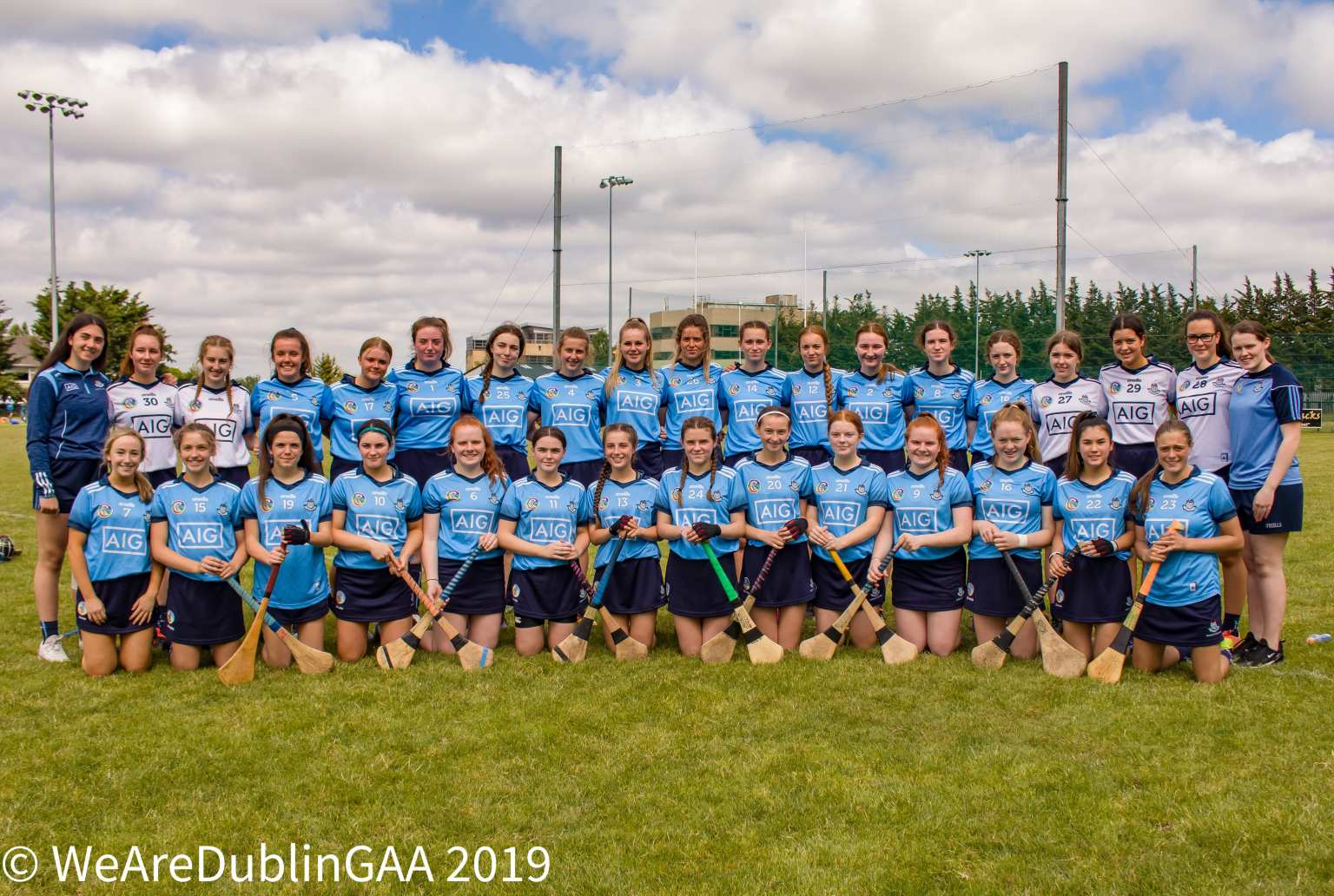 U16A Dublin Camogie Squad pictured before a game.