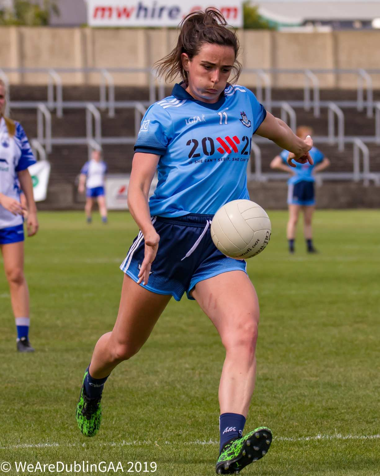 Dublin's Niamh McEvoy just about to strike the ball during Dublin's comfortable win over Waterford