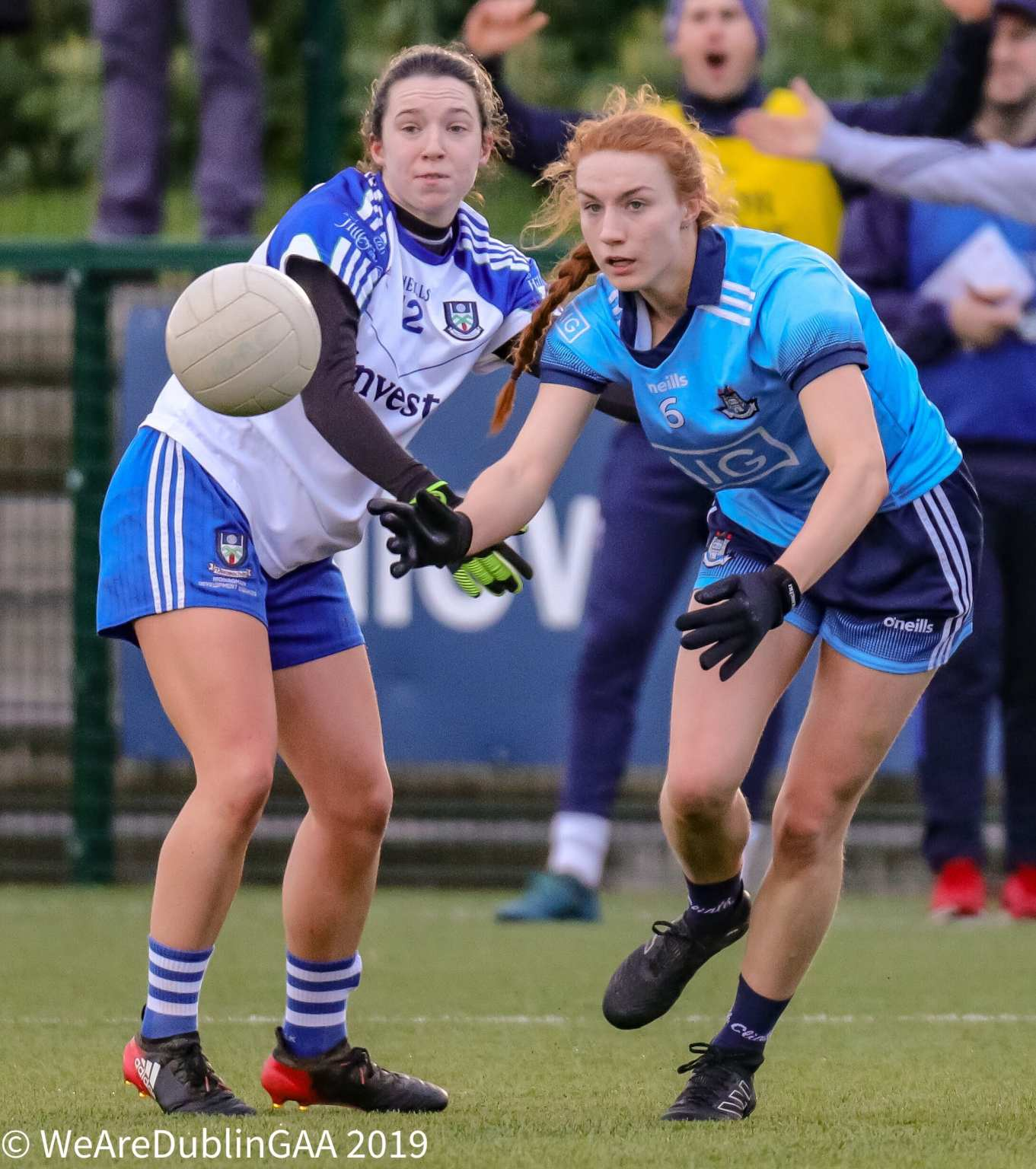 A Dublin and Monaghan Ladies footballer in action during a League game both sides meet tomorrow in the 2019 TG4 All Ireland Championship