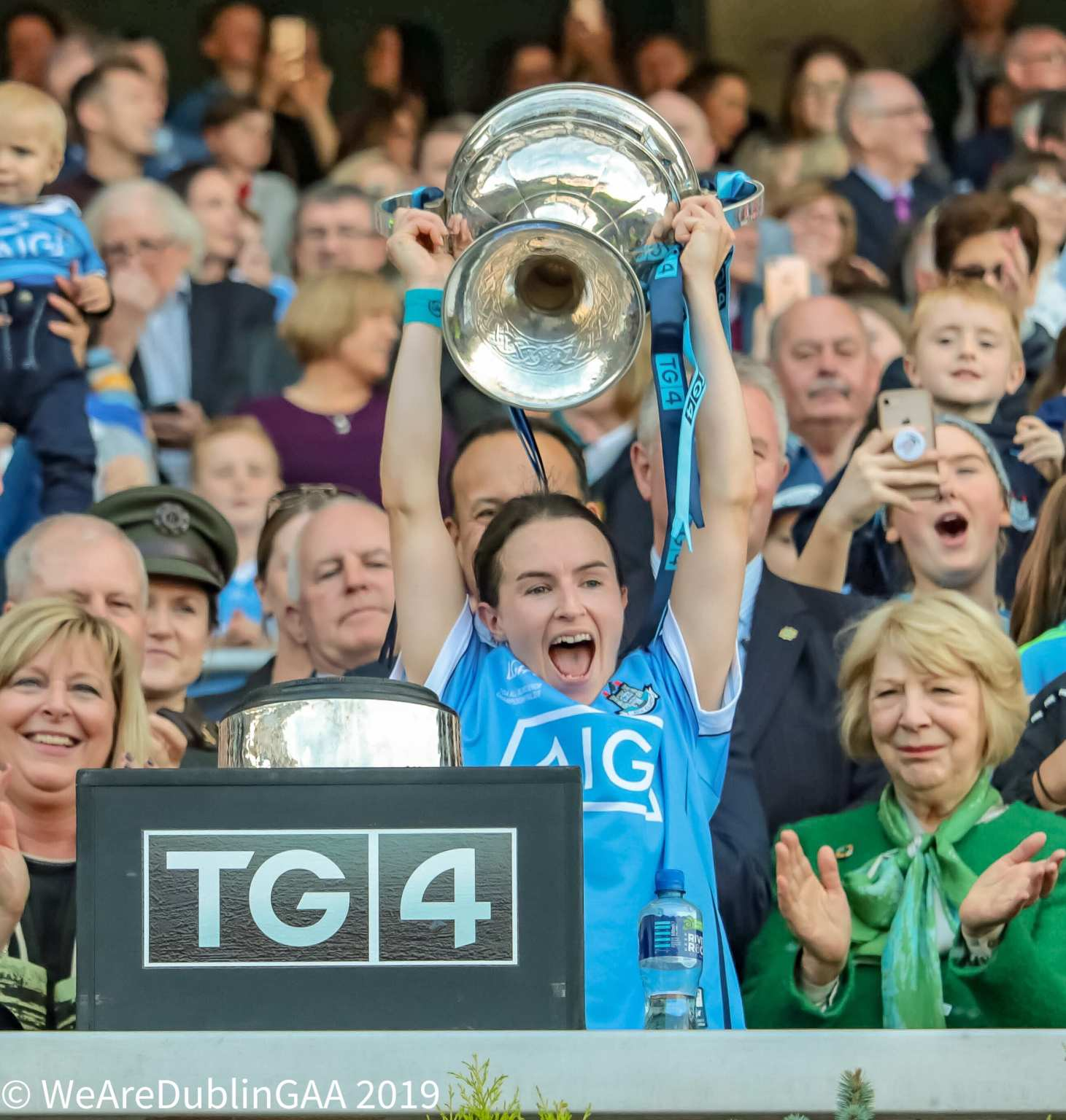 Dublin Captain Sinead Aherne lifts the Brendan Martin Cup above her head, Sinead says it will be great to see a huge crowd at the All Ireland semi finals which are being played in Croke Park for the first time.