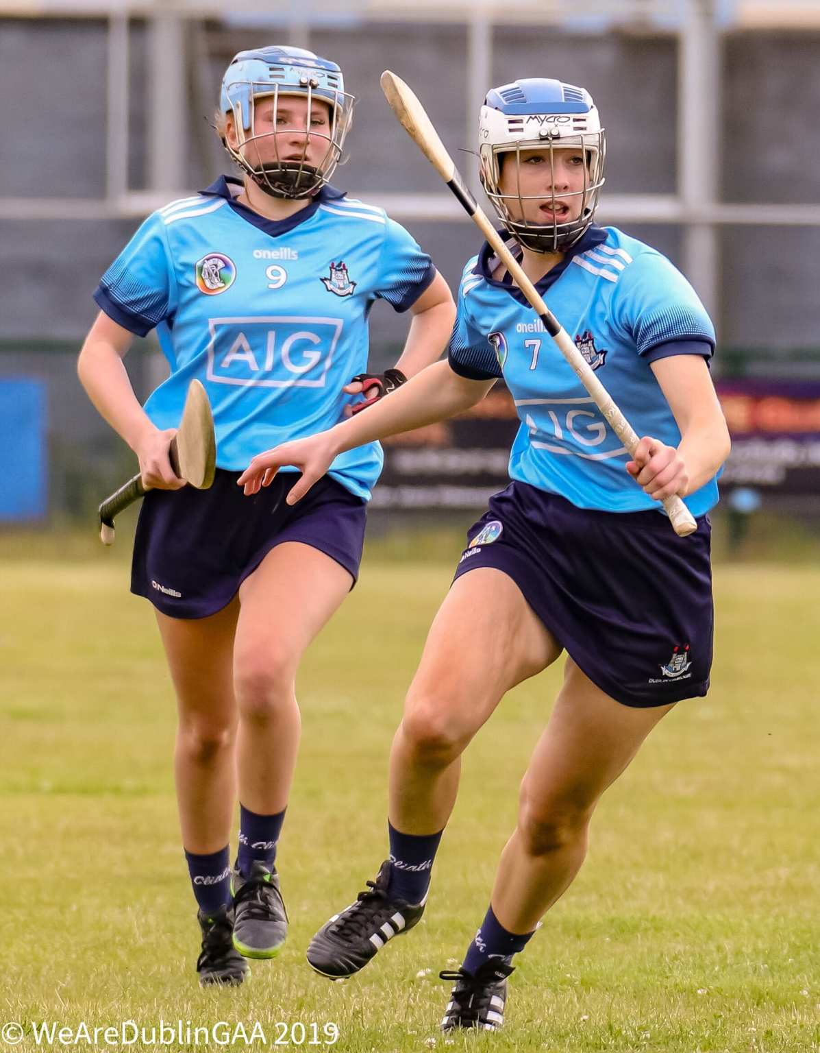 Two members of the Dublin Camogie Intermediates in action against Kildare in the All Ireland Championship.