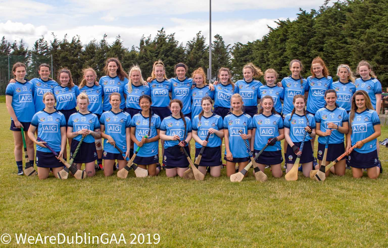 Dublin Camogie players pose for a squad photo before a game, the players attention will switch to the Dublin club championship Draws this Wednesday evening.