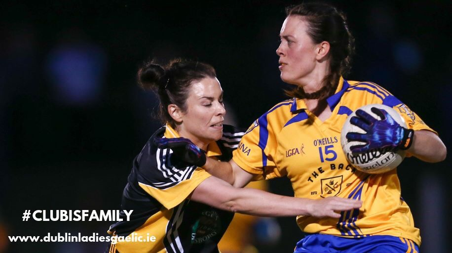 Two Footballers in action during a Dublin Ladies Football Club game.