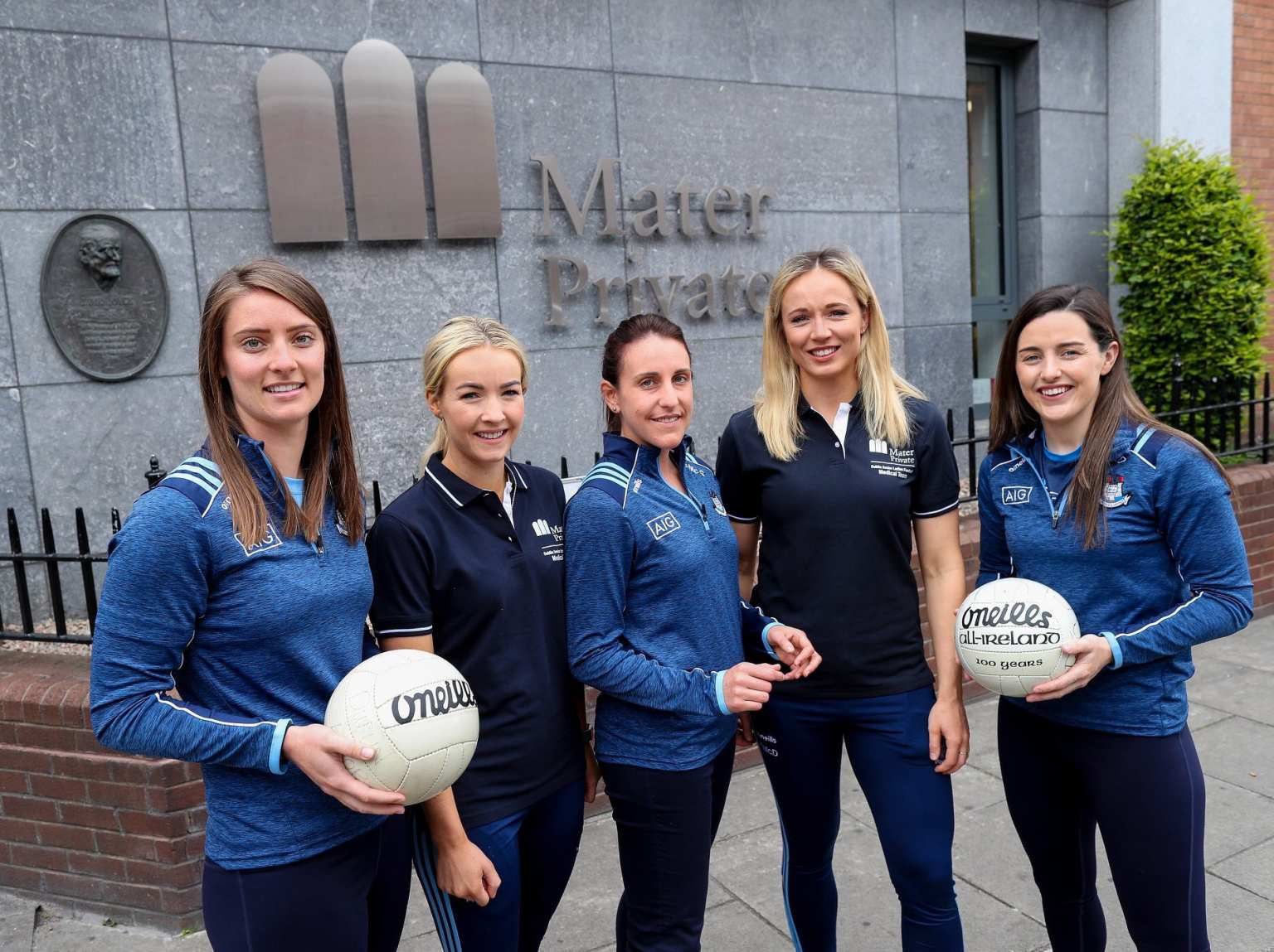 Members of the Dublin ladies football outside the Mater Private Hospital At the Announcement of the Medical support partnership between the Dublin LGFA and The Mater Private Hospital