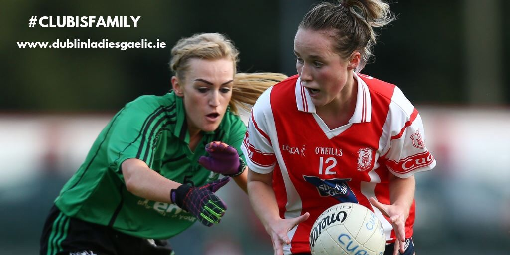 Two ladies footballers in action during one of the Dublin LGFA Adult Club League and Cup Fixtures