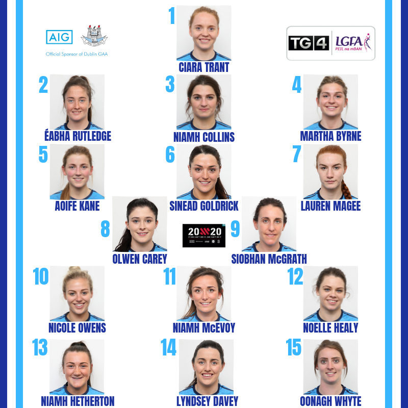 Head shots of the Dublin Senior Ladies Footballers picked to start their game against Monaghan