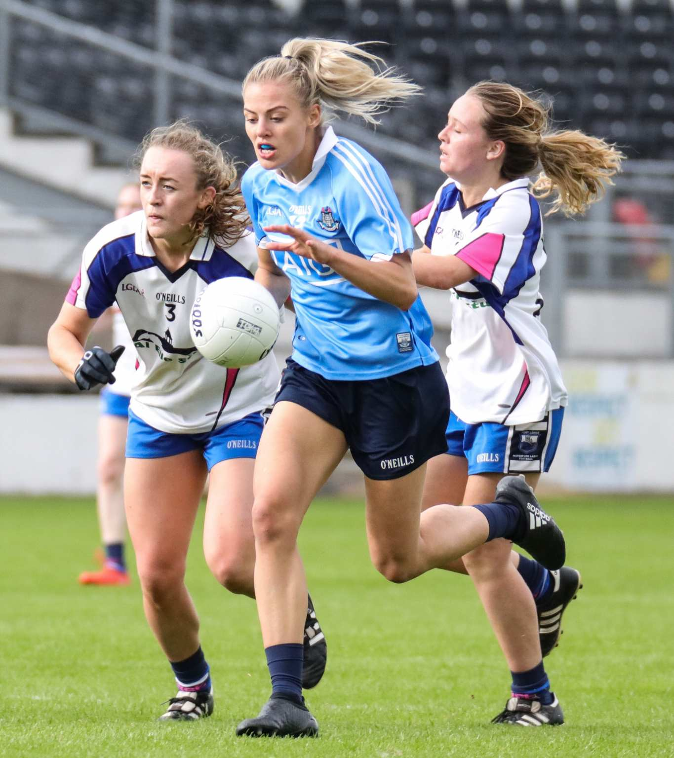 Nicole Owens from Senior Champions Dublin in Action against two Waterford players in 2017, both sides meet again on the 13th of July on the opening day of the All Ireland series.