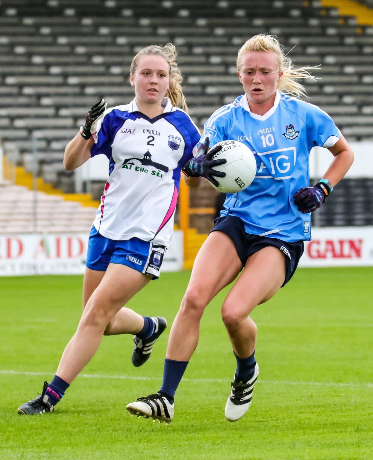 A Dublin Ladies footballer and Waterford player in action during a game both sides meet this weekend in the TG4 Senior All Ireland championship