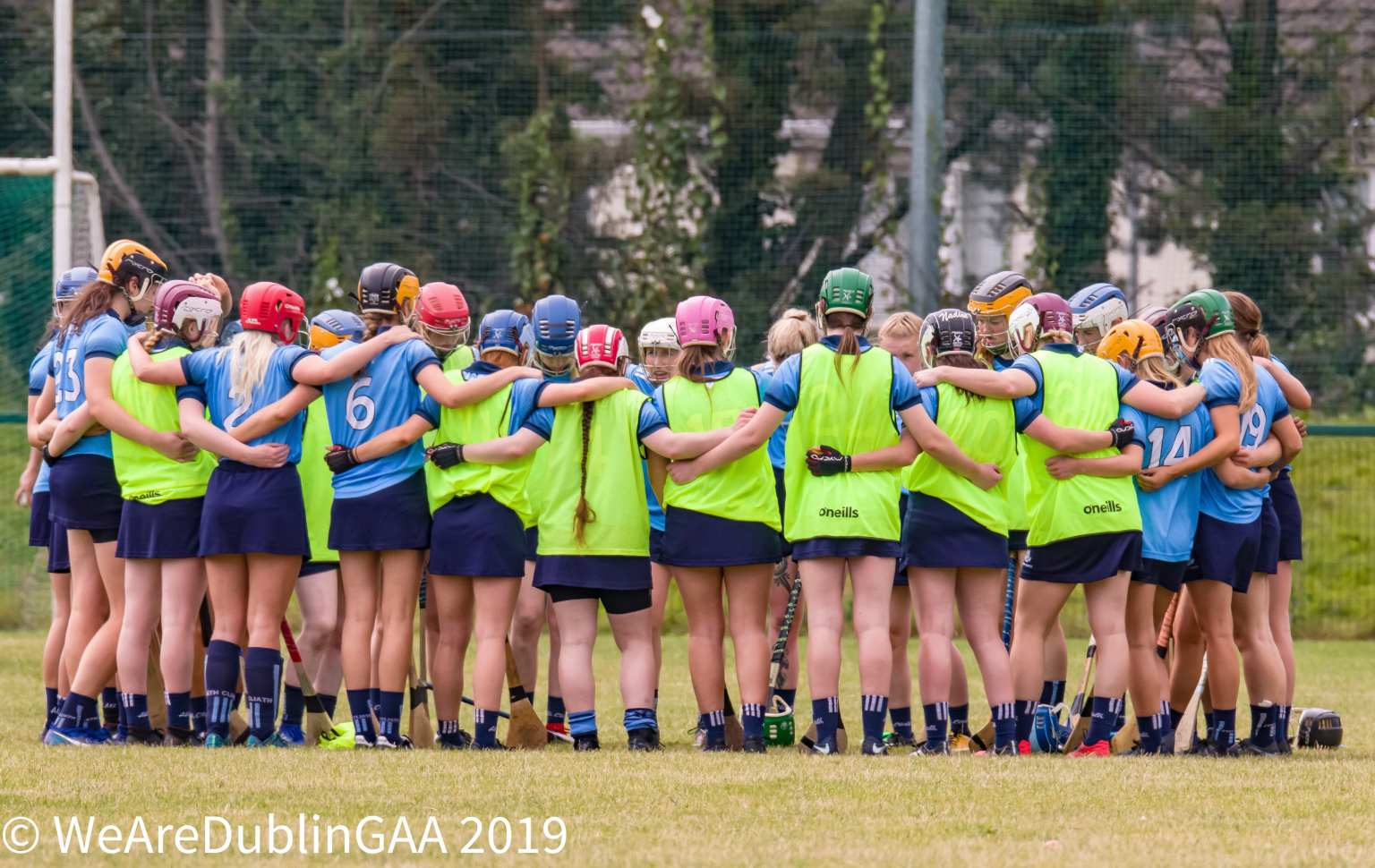 Dublin Inters in a huddle ahead of their final All Ireland Camogie Championship game.