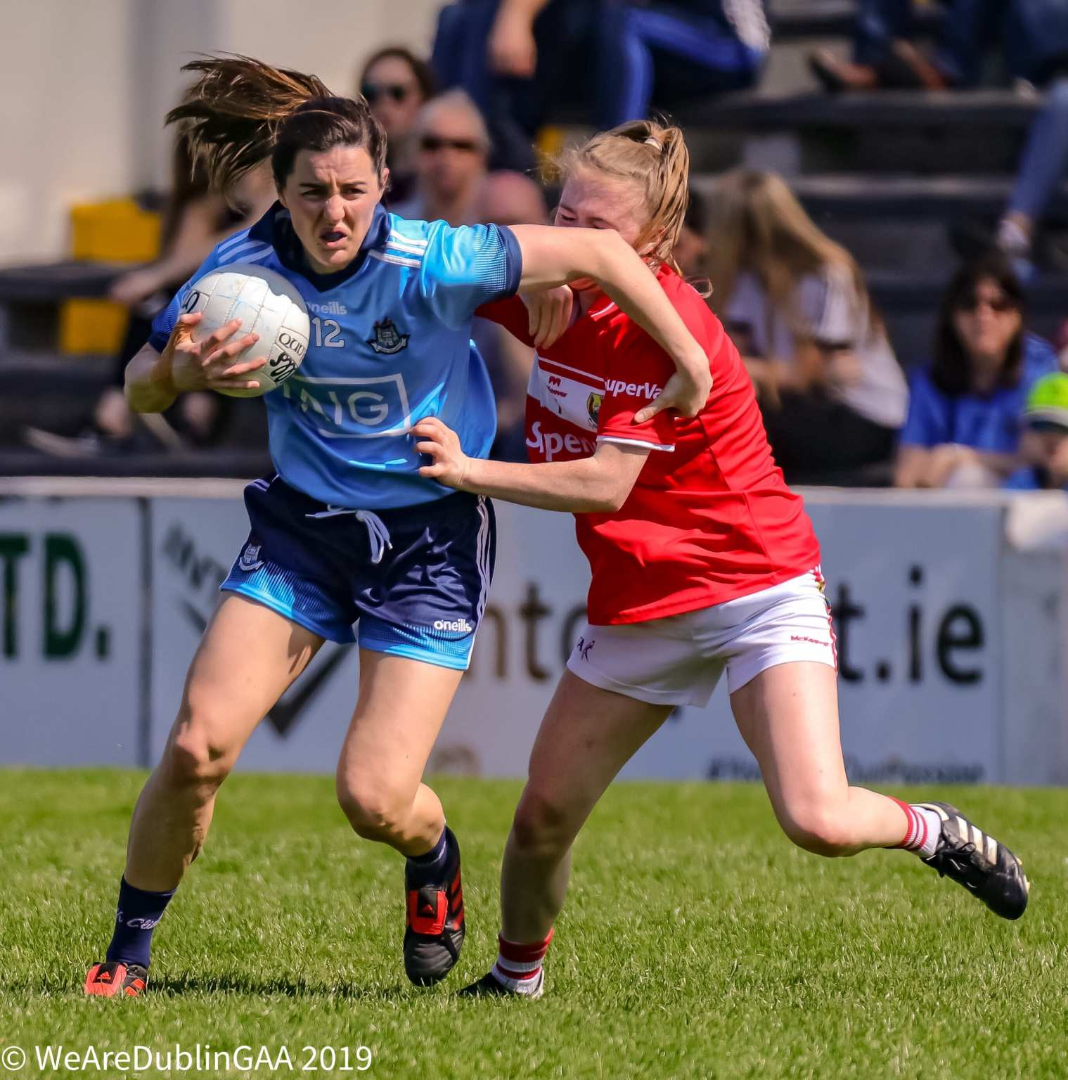 Dublin's Lyndsey Davey breaks the tackle of a Cork player, Dublin and Cork meet this weekend in the TG4 All-Ireland Semi Finals In Croke Park