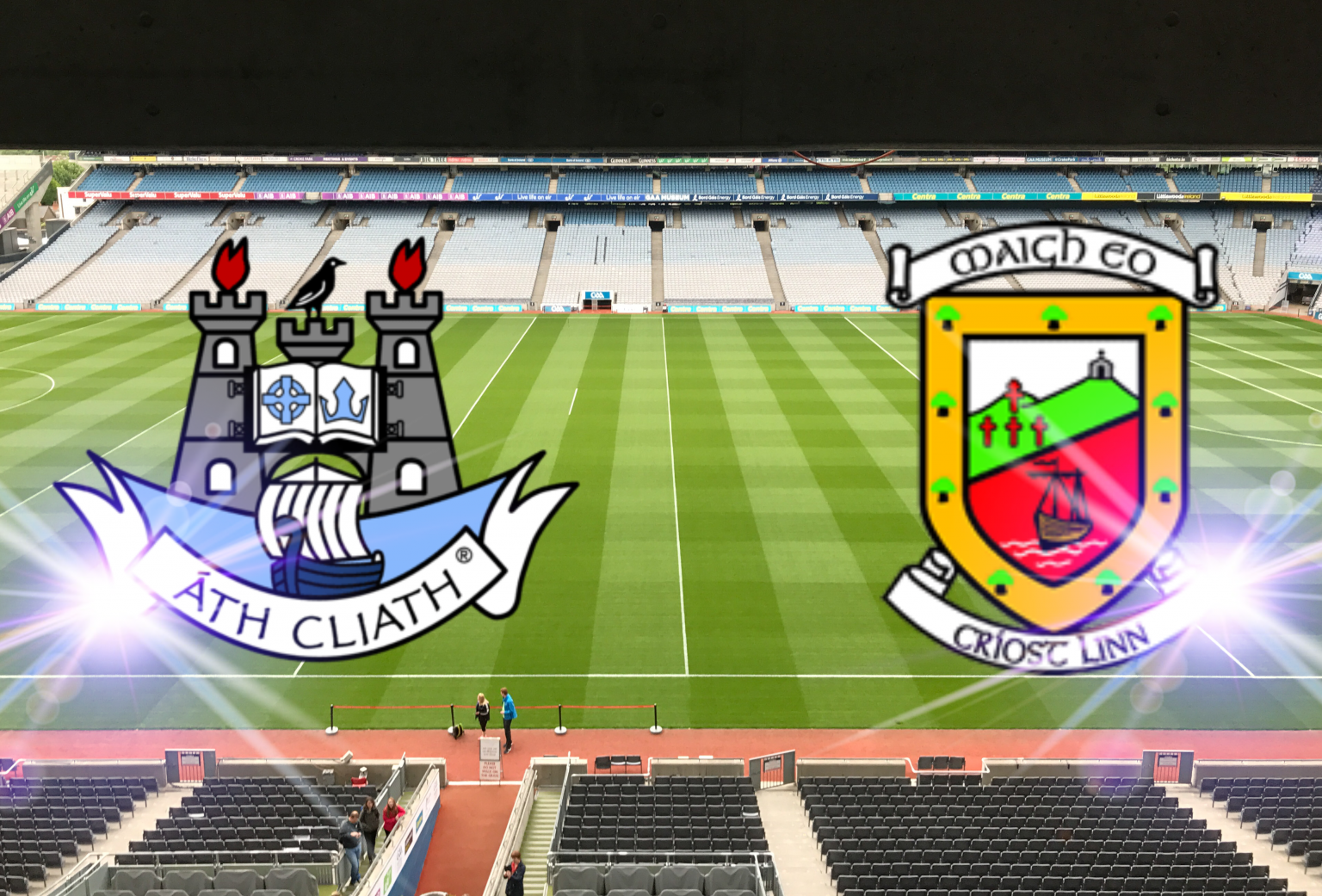 Croke Park pitch with the Dublin and Mayo crests superimposed Over it. Both sides meet in the All Ireland semi finals and the Mayo hype has gone into overdrive