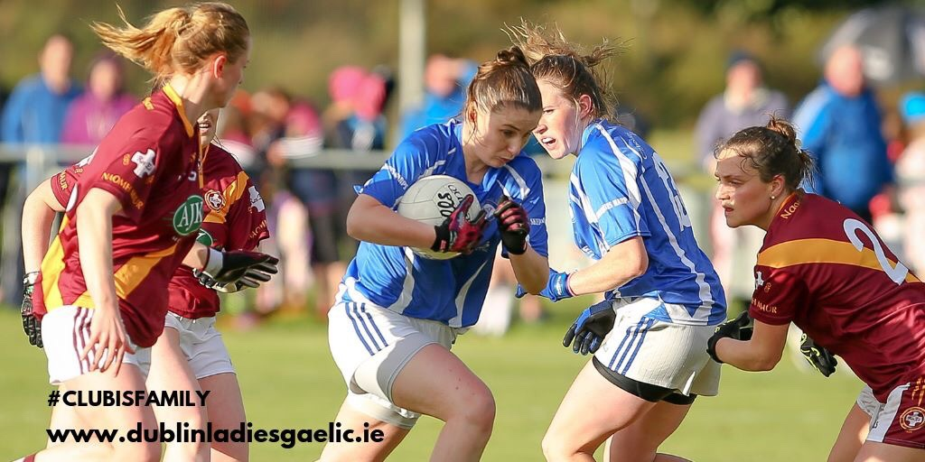 Four ladies footballers in action during a game to advertise the Dublin LGFA Junior G, Junior H and league and cup fixtures