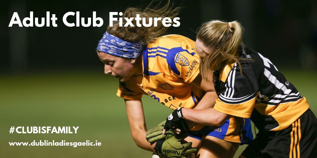 Two ladies Footballers battle for the ball during a Dublin LGFA Junior Club Championship game