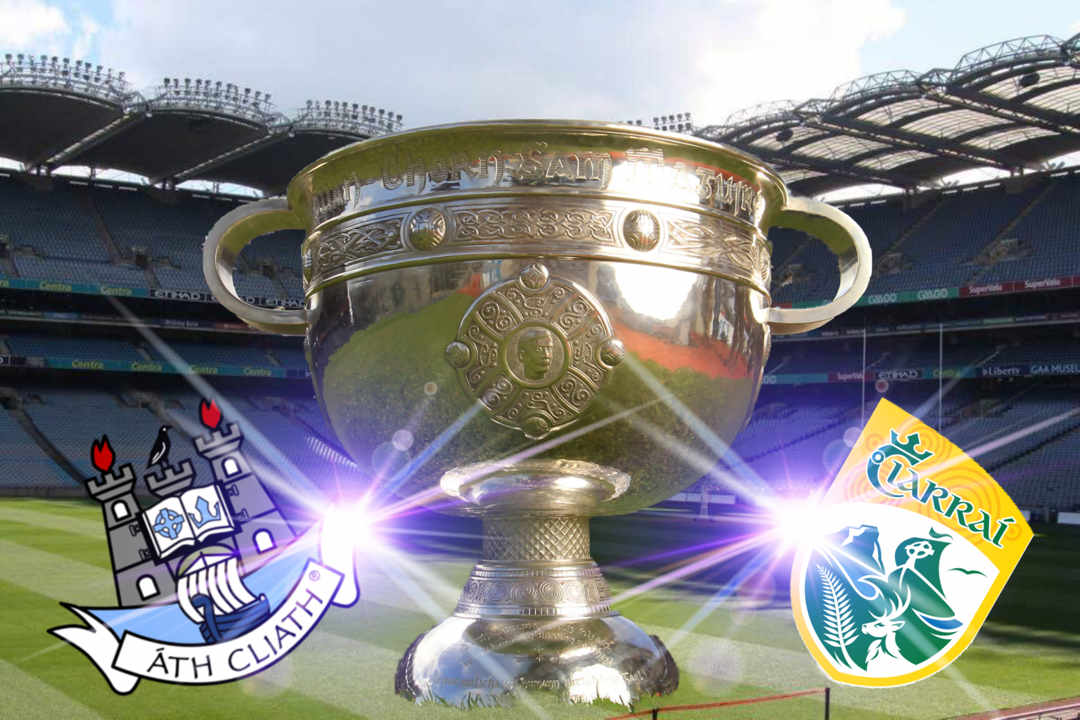 An image of the Sam Maguire cup on the Croke Park pitch with the Dublin and Kerry Logos to signify their All Ireland Final Replay