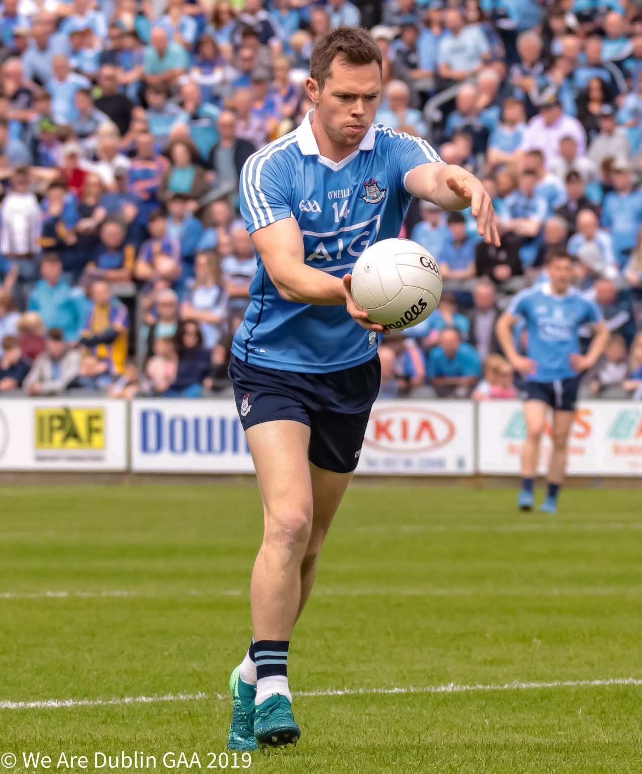 Dean Rock preparing to take a free, Rock is now Dublin's second most prolific footballer of all time.