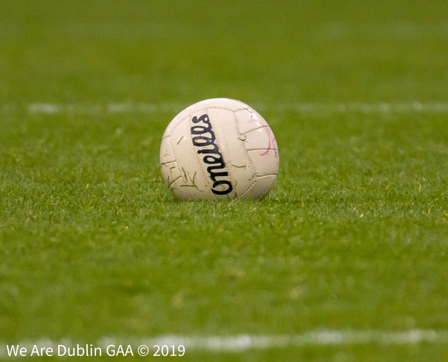 A Gaelic football on a grass pitch to signify the clubs chosen for the LGFA Club2Gether Programme
