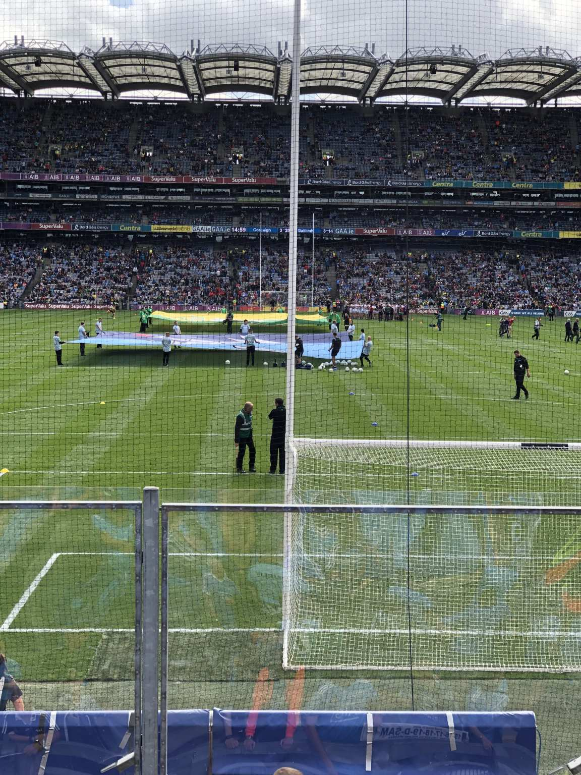 Dublin and Kerry Flags In the pitch for the 2019 All Ireland Final