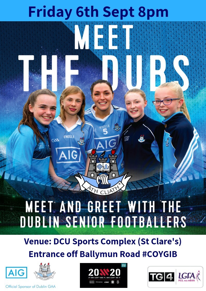 A promotional poster featuring Dublin Ladies footballer Sinead Goldrick flanked by fans to advertise this Friday's Meet And Greet