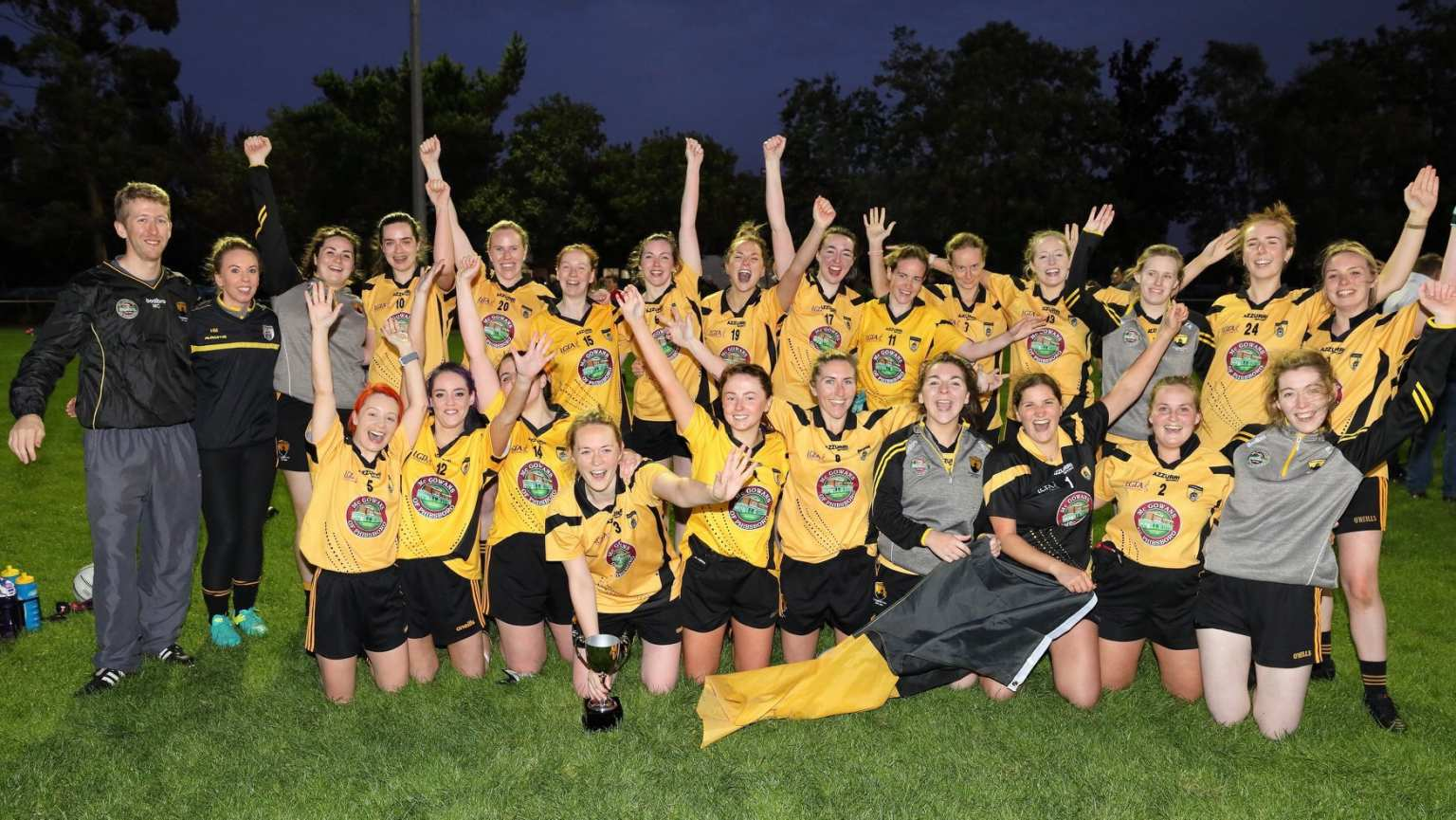 St Brendans Ladies Football Squad Celebrate on the pitch after winning the Dublin Junior H championship title