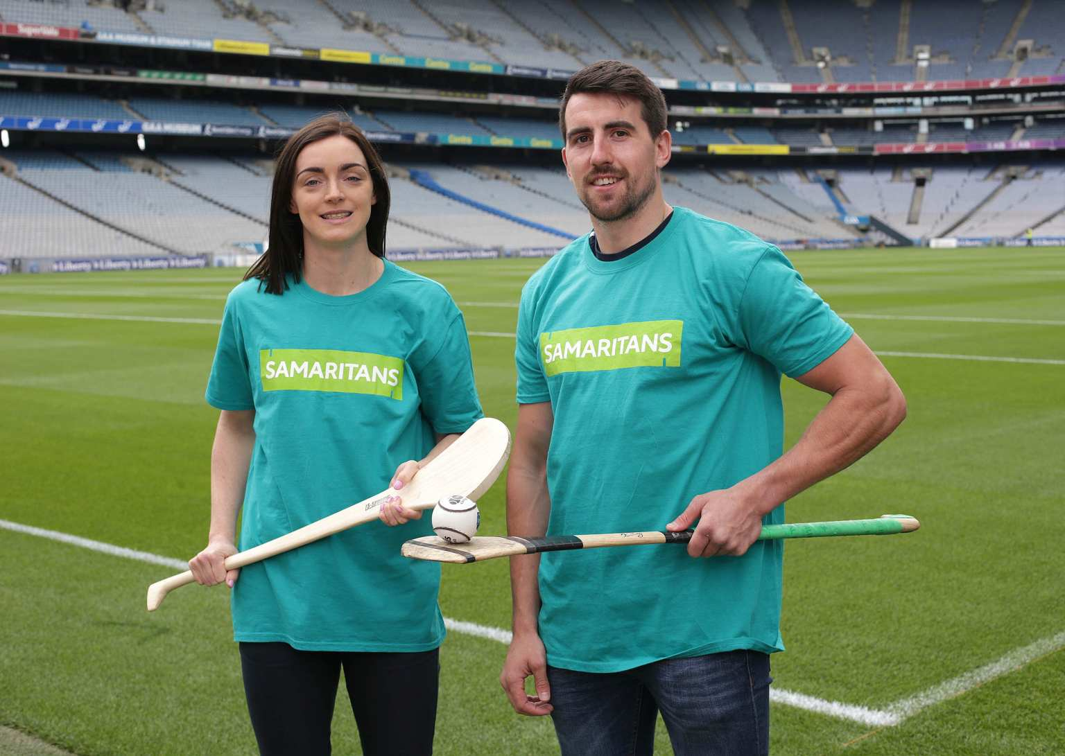 Dublin Senior Camogie Player Eve O'Brien (L) and Tipperary hurler Patrick 'Bonner' Maher at Croke Park as the Samaritans and the GAA celebrate five years as Mental Health Partners.