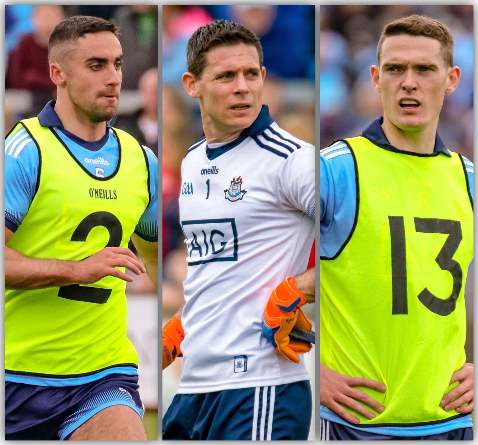 Dublin's James McCarthy (Left), Stephen Cluxton (centre) and Brian Fenton (right) are among the 13 Dublin players nominated for a 2019 Football All Star award