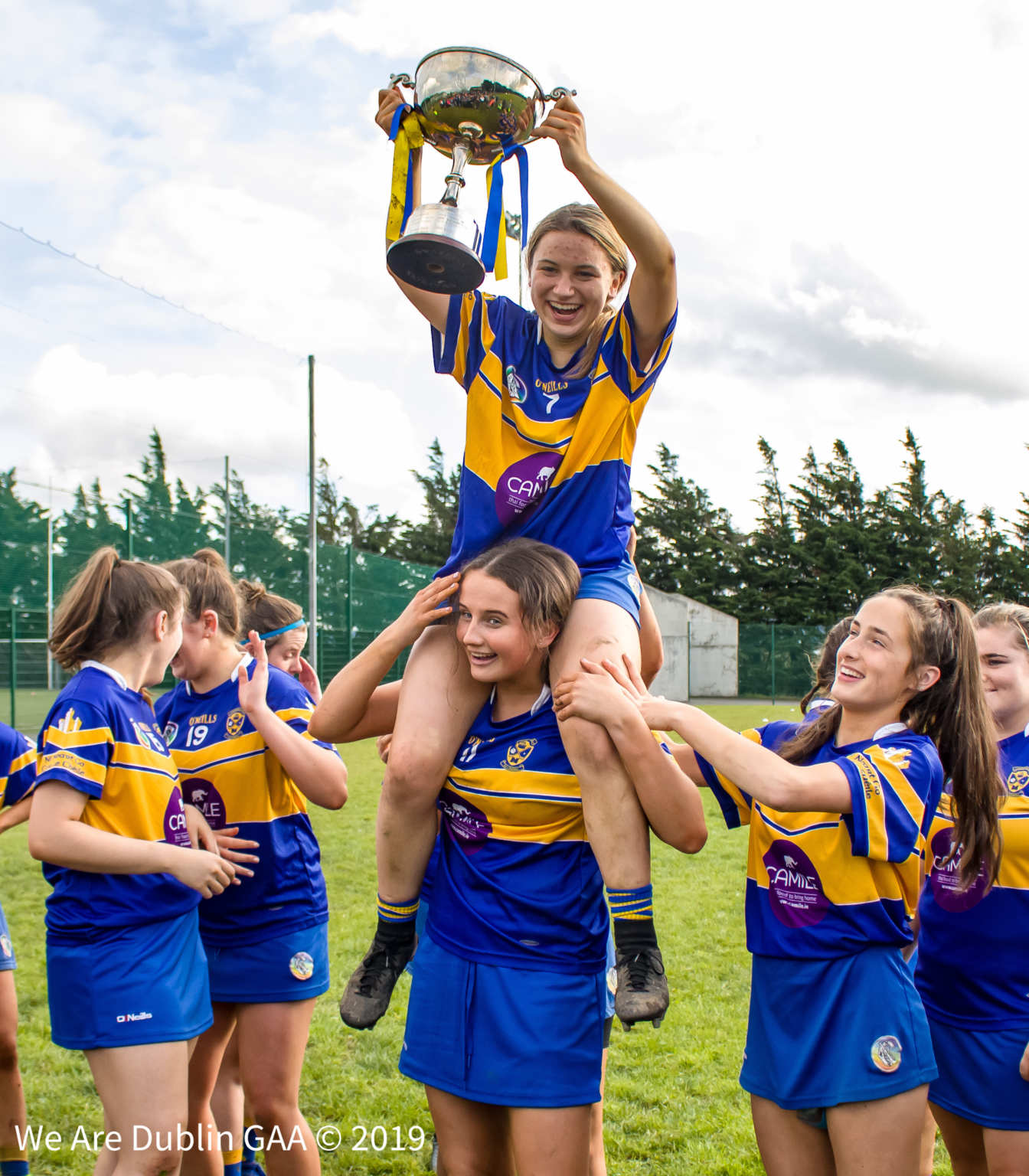 Castleknock players celebrate with the Inter 1 Club Championship title after beating Erins Isle in the first of this years finals in the Adult Club Camogie Championships