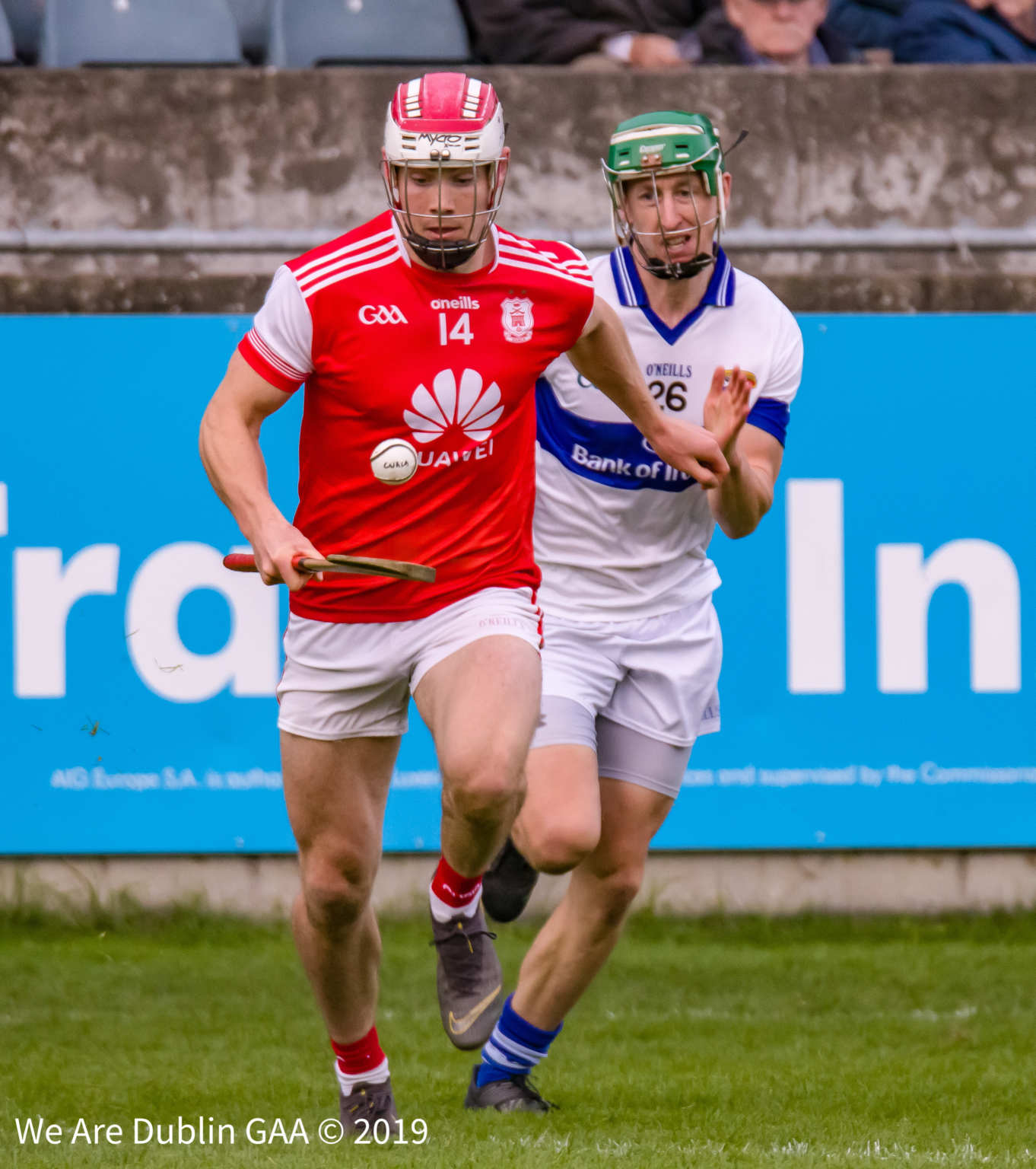 Con Of Callaghan in action against St Vincents in the Dublin SHC semi final which Cuala won with Mark Schutte top scoring with 1-03.