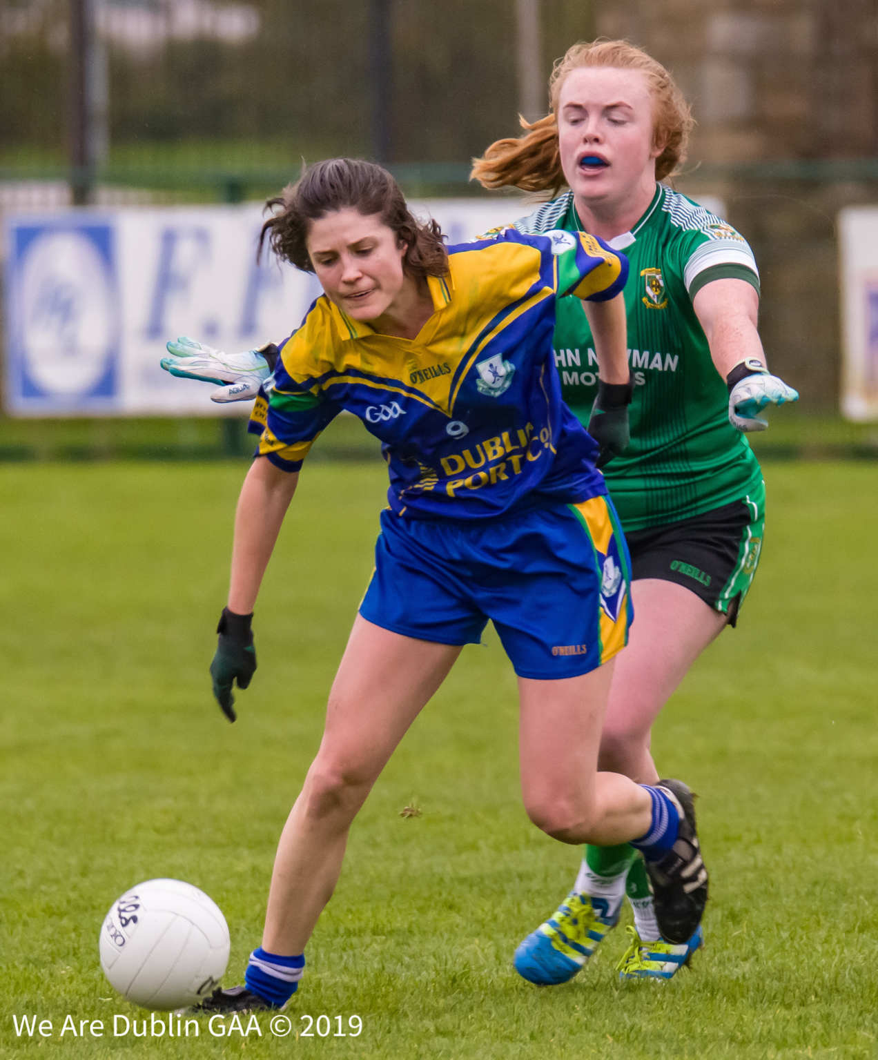 A Clanna Gael Fontenoy and Donaghmore Ashbourne player battle for the ball during the Leinster Ladies Football club championship quarter final
