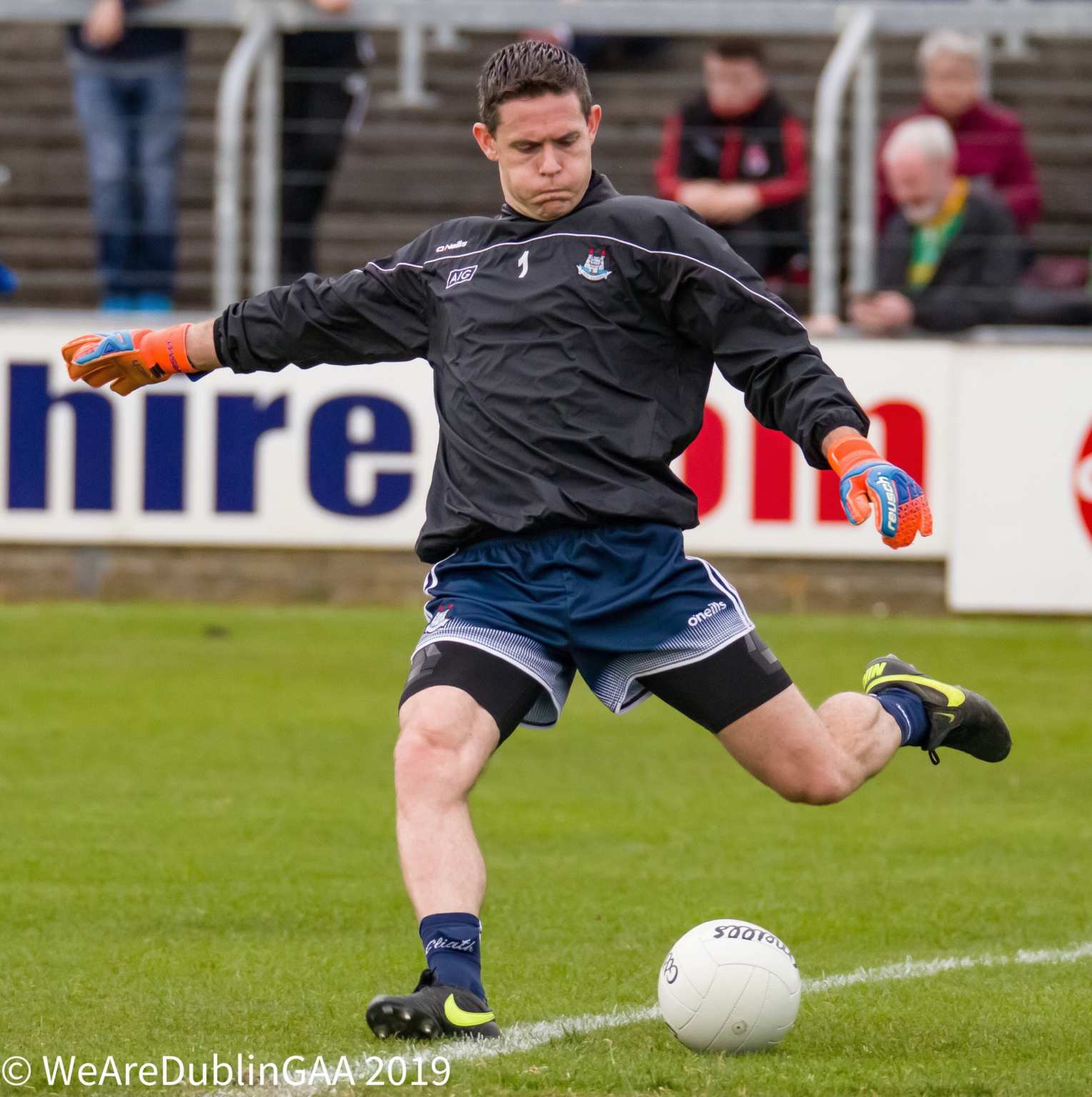 Stephen Cluxton about to kick the ball off the ground during a warm-up before a game, Cluxton is nominated for the PwC GAA/GPA Player of the Year award.