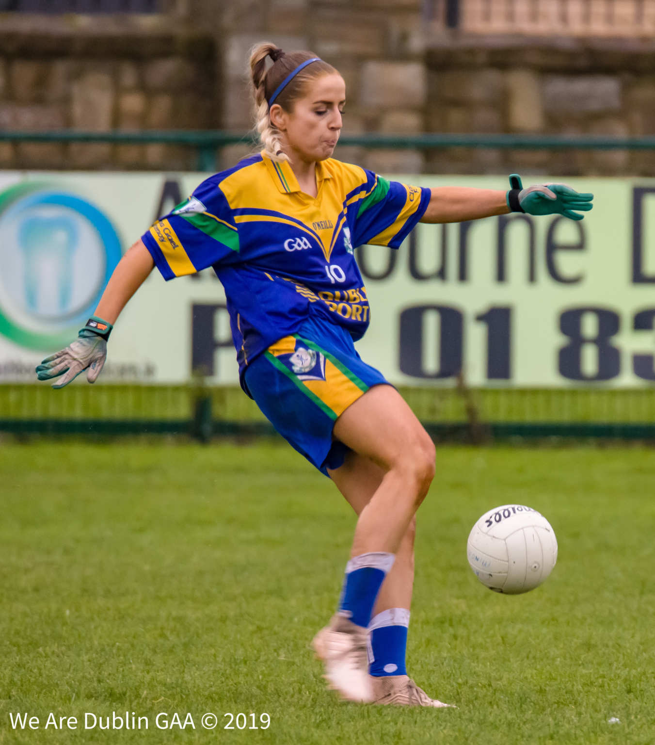 Clanna Gael Fontenoy forward Rebecca McDonnell kicks the ball towards goal during her sides Leinster Ladies Football club championship quarter final