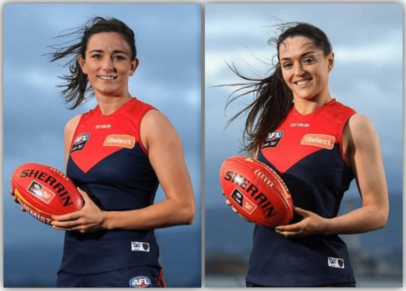 Dublin's Niamh McEvoy (Left) And Sinead Goldrick (Right) wearing Melbourne FC Jersey after its announced they have signed for the club for the 2020 AFLW season.