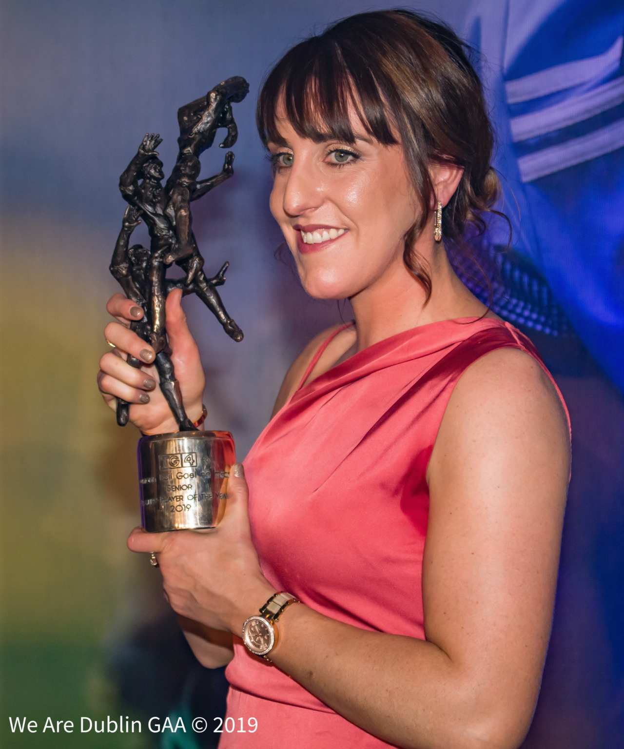 Dublin's Siobhán McGrath holding her Players' Player of the Year Award at the 2019 TG4 All Star Awards Banquet in the CityWest Hotel